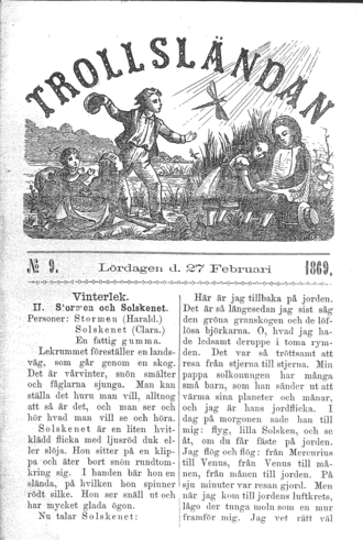 "Sov du lilla vide ung - The children's magazine Trollsländan (""Dragonfly"") No. 9, published February 27, 1869, in which Topelius's text of Sov du lilla vide ung was first published."