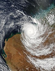 The Terra satellite captured this image of Cyclone Fay, over the Western Australian coast on March 27, 2004.