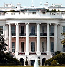 A south side view of the White House, showing the ground floor and the Truman Balcony on the second floor