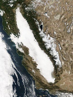 Tule fog - Tule fog captured by NASA's Terra Satellite