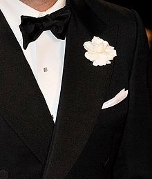 Button hole flower with white pocket square. 7332aedff