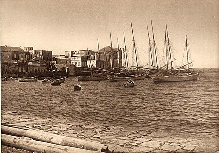 The harbour around 1925, by German scholar Karl Grober Tyre Habour.jpg