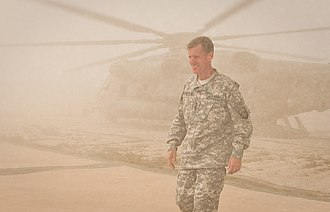 Stanley A. McChrystal - General McChrystal arrives at Combat Outpost Sharp in Garmsir District in April 2010