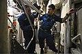 U.S. Navy Chief Damage Controlman Cory Williams, left, and Hull Maintenance Technician 1st Class Jaime Martinez discuss maintenance procedures on the littoral combat ship USS Freedom (LCS 1) during sea trials 130610-N-JN664-007.jpg