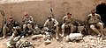 U.S. Soldiers with the 3rd Platoon, Charger Company, 1st Battalion, 5th Infantry Regiment break for lunch at Checkpoint Molla Dust April 1, 2012, in Panjwai district, Kandahar province, Afghanistan 120401-N-BS894-131.jpg