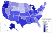 Unemployment rate for US states in 2004