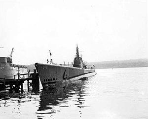 USS Guardfish (SS-217) - Guardfish (SS-217) after launching.
