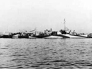 USS Thornton (AVD-11) in port, circa in 1944 (NH 77470).jpg