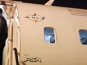 Fuselage of a CRJ200 parking on the ramp at Ch...
