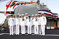 US Navy 020912-N-8837H-001 ailors pause a moment to take a group photograph with their outgoing Commanding Officer, Capt. R. Cameron Ingram.jpg