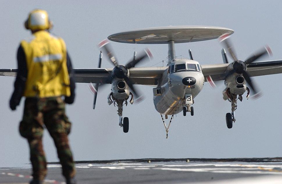US Navy 040219-N-5821P-005 An E-2C Hawkeye makes an arrested landing aboard the aircraft carrier USS Kitty Hawk (CV 63)