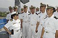 US Navy 040424-N-4055P-004 Lt. Cmdr. Romelda Sadiarin gives a tour of USS Coronado (AGF 11) to students from the Philippine Navy's Naval Education and Training Command.jpg