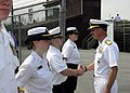 US Navy 070418-N-2903M-040 Commander, Carrier Strike Group Two, Rear Adm. Michael C. Vitale visits with the Naval Junior Reserve Officers Training Corps cadets of Floyd Central High School.jpg