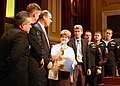 US Navy 071005-N-7163S-001 Hennepin County Sheriff Rich Stanek (center left), Minneapolis City Council President Barbara Johnson and Mayor R.T. Rybak present a city resolution in gratitude to Mobile Diving and Salvage Unit (MDS.jpg