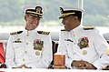 US Navy 080627-N-8467N-001 Rear Adm. Bruce E. Grooms, commander, Submarine Group 2, and Capt. Richard P. Breckenridge, commander, Submarine Squadron 4, share a laugh.jpg