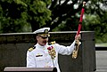 US Navy 090515-N-0923G-023 Capt. Brian Gawne, commanding officer of the George Washington University ROTC accepts a paddle from the graduating class during their commissioning ceremony at the Iwo Jima Memorial in Arlington.jpg