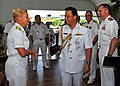 US Navy 100503-N-7643B-083 Rear Adm. Nora Tyson is greeted by Col. Abdul Halim at Brunei Navy Headquarters before the opening ceremony for Cooperation Afloat Readiness and Training (CARAT) Brunei 2010.jpg