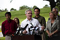 US Navy 100707-N-5549O-086 Secretary of the Navy (SECNAV) the Honorable Ray Mabus, center, Louisiana Gov. Bobby Jindal, left, U.S. Sen. Mary Landrieu, right, and local community leaders speak to the press on the campus of the U.jpg