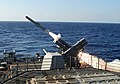 US Navy 101027-N-6632S-200 The guided-missile cruiser USS Gettysburg (CG 64) fires a Harpoon anti-ship missile at the ex-USNS Saturn during a sinki.jpg
