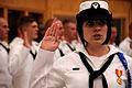 US Navy 110728-N-XT989-002 Hospital Corpsman Apprentice Marisa Pinelli, from Orlando, Fla., recites the Hospital Corps Pledge during the Naval Hosp.jpg
