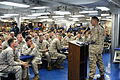 US Navy 110817-N-KD852-028 Col. Michael Hudson, commander of the 11th Marine Expeditionary Unit (11th MEU) speaks to Sailors and a Marines commemor.jpg