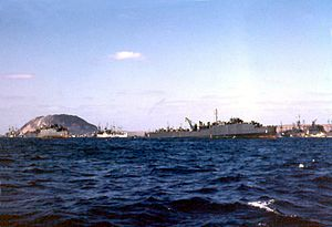 USS Belle Grove (LSD-2) - Image: US Navy dock landing ships at Iwo Jima in 1945