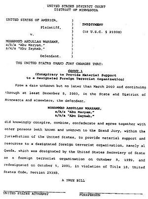 Copy of indictment against Mohammed Warsame