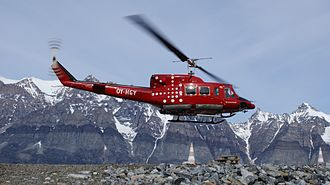 Ukkusissat - Air Greenland serves the village with a Bell 212 helicopter