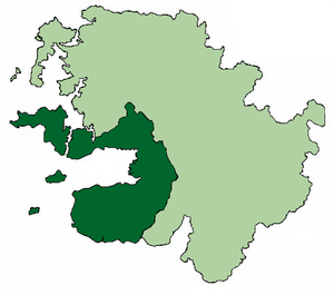 Umhaill - Map of Umaill (dark green) within County Mayo.