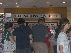 United Nations Postal Administration - A busy United Nations Post Office at the United Nations Headquarters, New York City