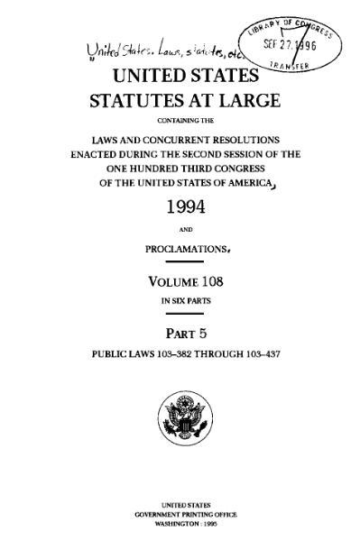 File:United States Statutes at Large Volume 108 Part 5.djvu