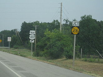 U.S. Route 166 - US-166 and US-400 at the terminus of K-26