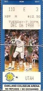Utah Jazz at Golden State Warriors 1988-12-06 (ticket)