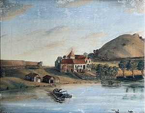 Utstein Abbey - Utstein Abbey, 18th/19th century (anon painting; photo by Frode Inge Helland