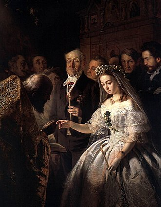 Forced marriage - Unequal marriage, a 19th-century painting by Russian artist Pukirev. It depicts an arranged marriage where a young girl is forced to marry against her will.