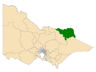 Electoral district of Benambra - Location of Benambra (dark green) in Victoria