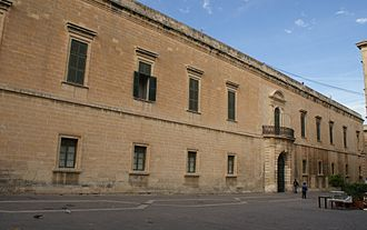 Grandmaster's Palace (Valletta) - Rear façade on Merchants Street, with the armoury elaborated entrance designed by Romano Carapecchia in the 18th century.