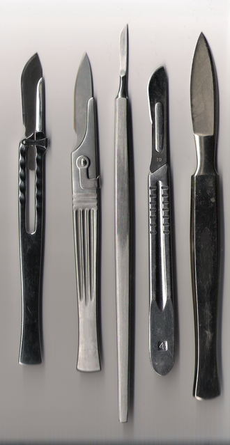 Scalpel - Various scalpels. The first (from left), second, and fourth have replaceable blades