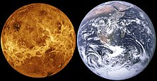 Venus, represented without its atmosphere, side by side with Earth. Venus is slightly smaller.