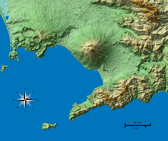 Gulf of Naples - Topographic map of the Gulf of Naples and Mount Vesuvius