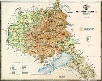 Veszprém County - Veszprém County on an old map
