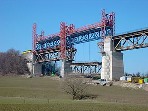 Viaduct of Moresnet - Replacing the bridge-deck.  The most westerly section was lifted into place in March 2003.