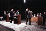 Vice President Bush practices onstage for the 1984 Vice Presidential Debate between himself and Geraldine Ferraro, held in Philadelphia, PA. 3275.jpg