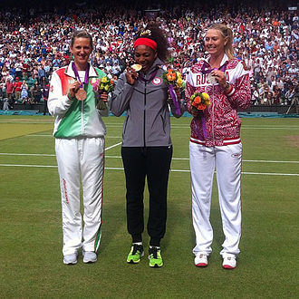 Tennis at the Summer Olympics - 2012 Women's Singles medalists, Serena Williams (center), Maria Sharapova (right) and Victoria Azarenka (left).