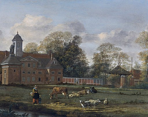 View of Goudestein with a woman and a child walking beside a dyke by Jan van der heyden