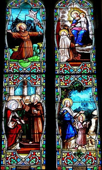Fichier:Villeréal - Eglise - Vitrail Histoire de saint François.jpg