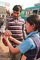 Visually challenged student tied rakhi to staff of Public Transport IMG 2926.jpg