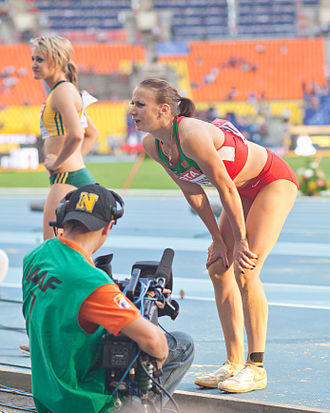 Volha Sudarava and Lynique Prinsloo (2013 World Championships in Athletics) 04.jpg