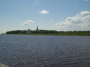 Volkhov River - Volkhov River near Veliky Novgorod, and the Yuriev Monastery.