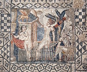 Diana (mythology) - Mosaic of Diana and her nymph being surprised by Actaeon, from the ruins of Volubilis.